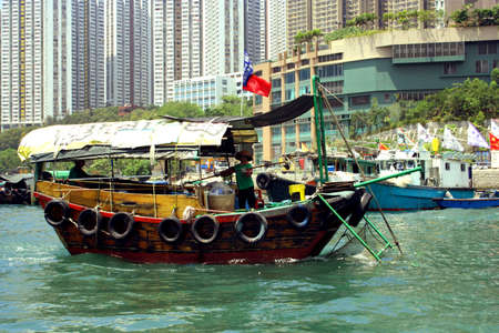 Traditional Sampan Boat, Hong Kong, Asia Stock Photo