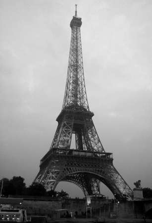Eiffel Tower in Paris, Black and White image, France