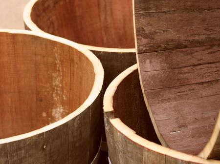 seasoned: Jumble of empty oak wine barrels at a winery
