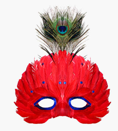 Red Masquerade mask with Peacock feather Stock Photo - 2988208