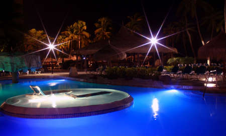 Tropical Pool at night, Aruba, Caribbean