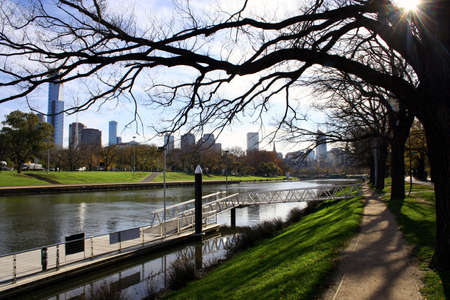 Melbourne looking toward the city centre from the banks of the Yarra River, Australia