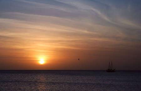 Aruba Beach at sunset, Tropical Caribbean Island