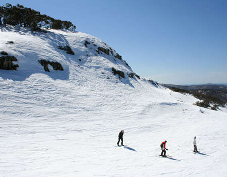 Taking advantage of the last weeks of the ski season in Australia, at Mount Buller, Victoria Stock Photo