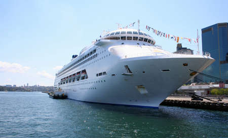 king street: Tropical Cruise Ship anchored at King Street Wharf, Sydney, Australia Stock Photo