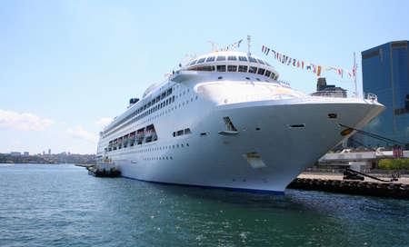 king street: Tropical Cruise Ship anchored at King Street Wharf, Sydney, Australia Stock Photo