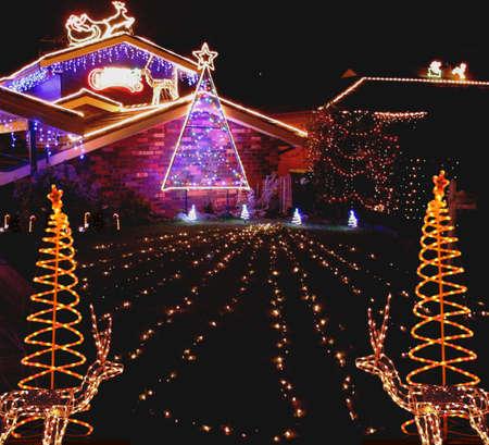 christmas lights display: Garden Christmas Lights display Stock Photo