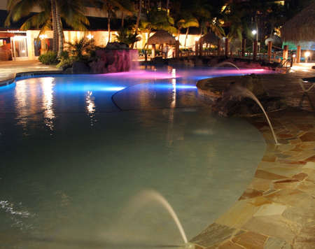 Pool lights at a tropical resort Aruba Island, Caribbean