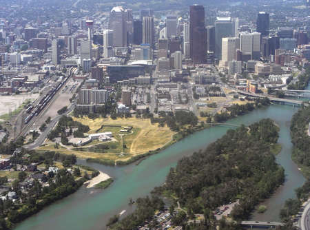 Aerial view of Calgary and the Bow River, in the province of Alberta, Canada.
