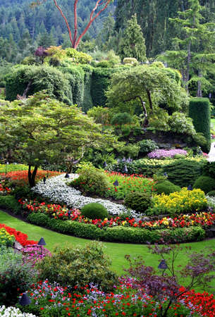 Beautiful Butchart Gardens, Vancouver Island, Canada Stock Photo