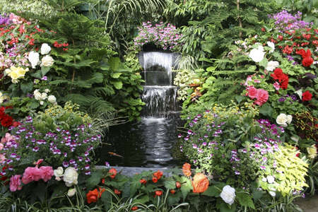 Waterfall at The Butchart Gardens, Canada Stock Photo