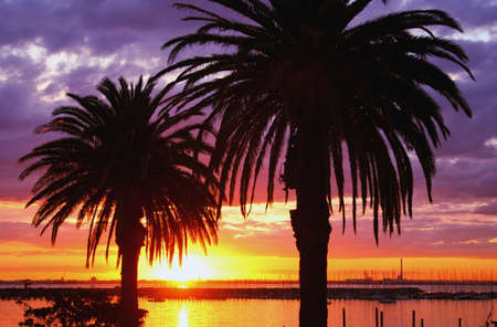 st kilda: Sunset at St Kilda marina, Melbourne, Australia Stock Photo