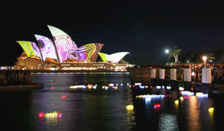 Sydney, June 6, 2009 � Vivid Sydney Festival includes the lighting of the Sydney Opera House sails by Eno, as one of the main events of the Festival. Stock Photo - 7029734