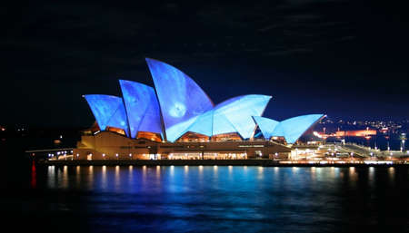 Sydney, June 6, 2009 – Vivid Sydney Festival includes the lighting of the Sydney Opera House sails by Eno, as one of the main events of the Festival. Stock Photo - 7029736