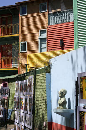 BUENOS AIRES, ARGENTINA - OCTOBER, 12: Artworks in La Boca, an artist colony in the oldest, colorful and authentic neighborhood in the city of Buenos Aires, Argentina, October 12, 2010.