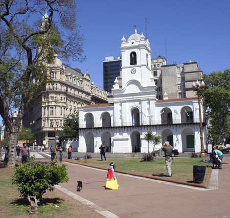 Buenos Aires, Argentina - October 11, 2010 : View of the  Cabildo now a National Museum, from the Plaza de Mayo, this was the first government building in the city of Buenos Aires.