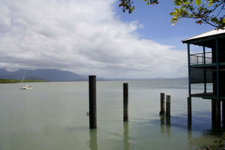 Port Douglas wharf, looking towards the Daintree Range, far north Queensland, Australia