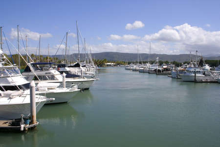 Picturesque Port Douglas Marina looking towards the Yacht Club, Queensland, Australia Stock Photo