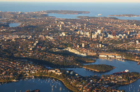 manly: Aerial view of north shore suburbs of Sydney from Chatswood to Manly and North and South Head, Australia