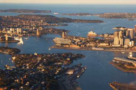 Sydney, Australia – September 3, 2012: Aerial view of lower north shore and Sydney Harbour, Australia Stock Photo - 16223517