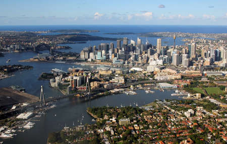 Sydney, Australia - April 5, 2013  Aerial view of Sydney Harbour looking east across the city toward the ocean, Australia Editorial