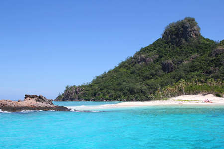 fiji: Perfect for snorkeling and swimming with pure white sand beaches, Modriki is a tiny island, part of Mamanuca Islands in Fiji, where the movie Castaway was filmed    Stock Photo