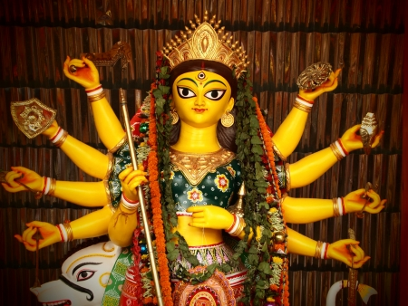 Deity of Maa Durga, the famous Hindu Goddess of India  photo