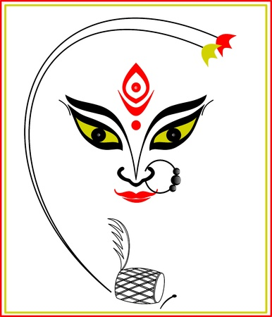 Abstract art of Maa Durga, the famous Hindu Goddess of India  Ilustrace