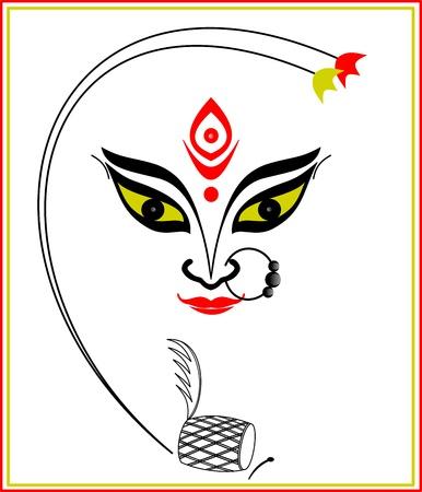 Abstrakte Kunst von Maa Durga, der berühmte Hindu-Göttin in Indien Vektorgrafik