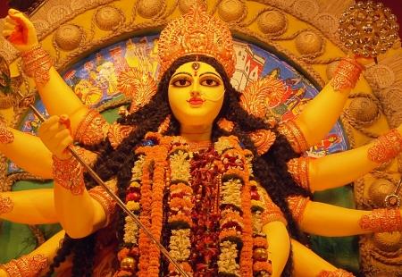 Deity of Maa Durga, the famous Hindu Goddess of India  Stock Photo