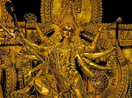 hindu goddess: Deity of Maa Durga, the famous Hindu Goddess of India  Stock Photo