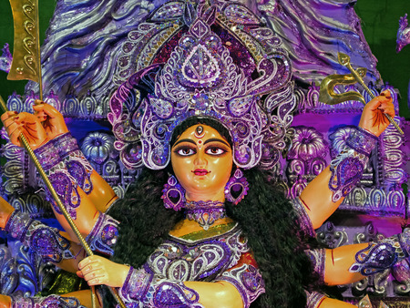 hindu goddess: Deity of Maa Durga, the famous Hindu Goddess of India. Stock Photo