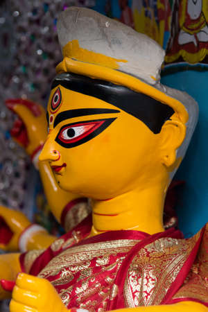 Side view of beautiful face of Goddess Durga