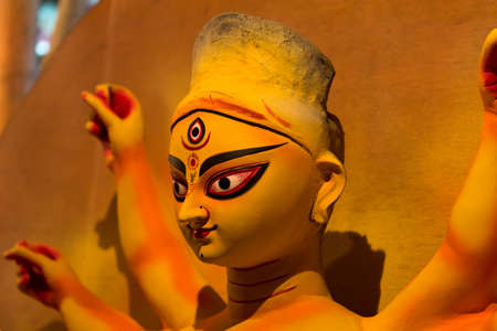 Beautiful portrait of Goddess Durga with use of selective focus Stock Photo