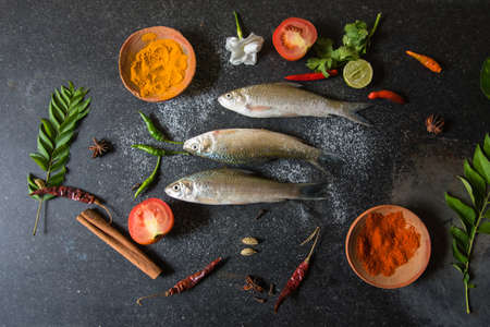 View from above of raw fish on a background with use of selective focus