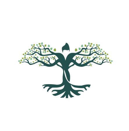 TREES WITH PEOPLE ROOT LOGO VECTOR 向量圖像