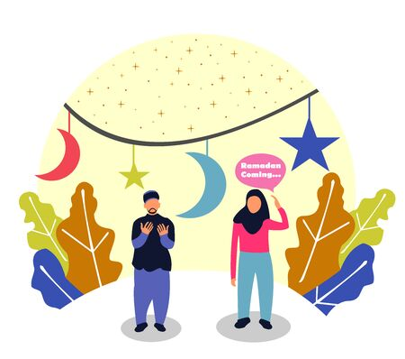 Flat Design. Ramadan Stock.Cartoon Vector Illustration