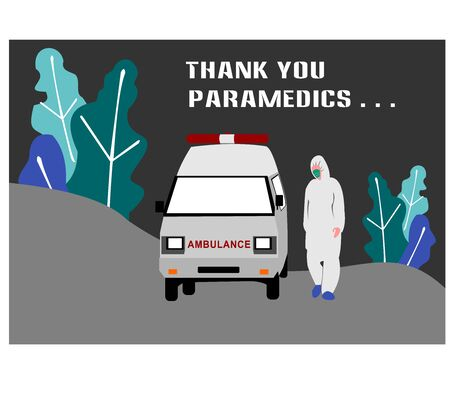 Vector illustration of a white ambulance and doctors.The concept of medical care or emergency care.