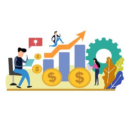 Illustrations design concept business success via growth graph chart.
