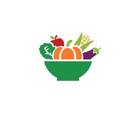 Vegetarian Logo Template Design Vector, restaurant logo, natural food Logo