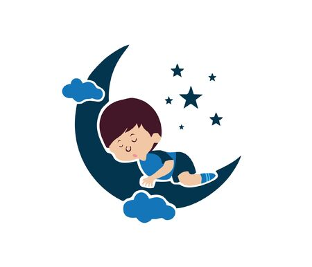 children sleep with moon and  stars vector