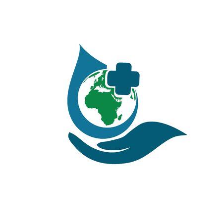 green planet globe medical pharmacy logo icon vector illustration