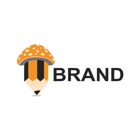 pencil with mushroom logo vector