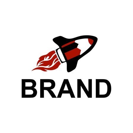 pencil rocket launch with fire flame logo vector
