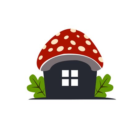 mushroom house logo with a simple and unique design