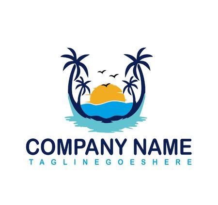 Natural beach  logo design vector template. 向量圖像
