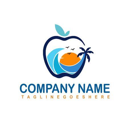 Natural beach  logo design vector 向量圖像