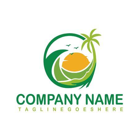 Natural beach logo design vector