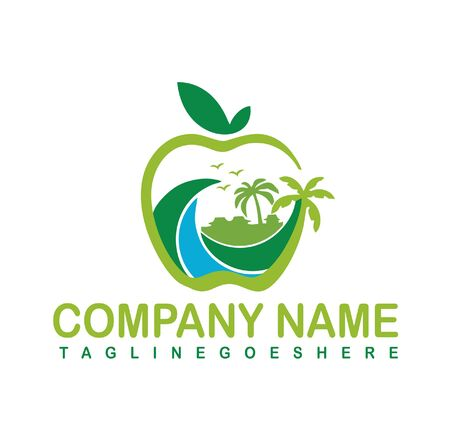 Natural beach logo design vector template. Creative symbol or icon. Summer vacation on tropical sunset with Palm trees illustration.