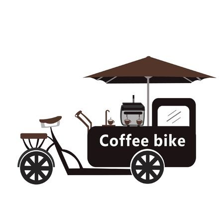 Coffee street bicycle vector image. logo
